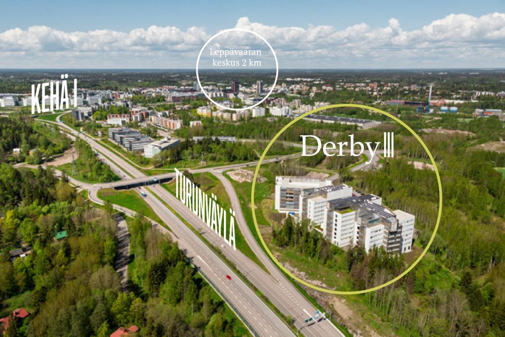Derby ilmakuva, jossa näkee Turunväylän, Kehä I:n ja Leppävaaran sijainnin suhteessa kohteeseen.
